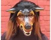 SALE  Brown Paper Mache Wolf Mask