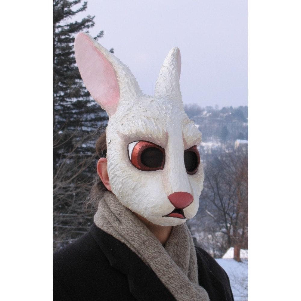 Paper mache white rabbit mask for Paper mache mash