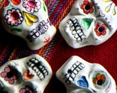 Day of the Dead Hand sculpted polymer clay sugar skull necklace by artist Sherry Westfall Matthews