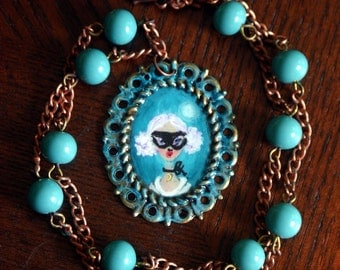 Moonlight Masquerade hand painted pendant necklace by southern artist Sherry Westfall Matthews