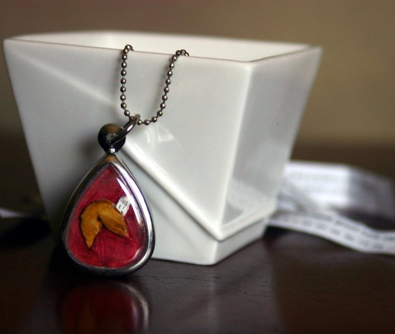 Lucky cat-Fortune cookie 2 sided pendant  FREE SHIPPING hand carved and painted