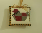 Counted Cross Stitch Ornament Completed Folk Art Chicken