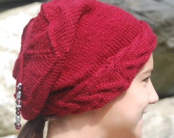 Hat - Handknit Slouch Hat Trendy Cabled Band Beaded in Burgundy Australian Wool