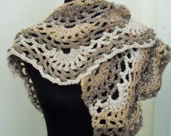 Lacy FUNNEL CAKE Wool Crochet Shawl or Scarf in Variegated Earthtones Wool