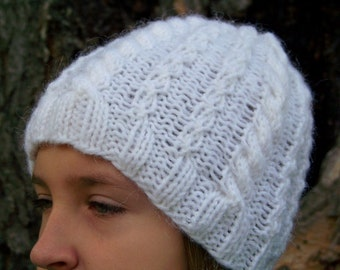 Cable Knit Hat WHITE FROST Handknit In Sparkly White Lambswool Blend Yarn