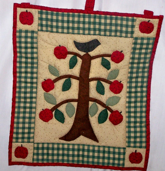 Quilted Bird in an Apple Tree Folk Art Wallhanging