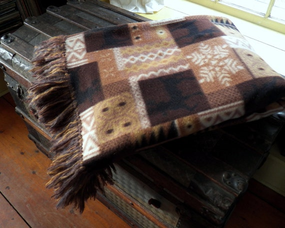 Fleece and Mohair Cuddle Soft Sofa Throw in Brown Patterned Fleece with Mohair Fringe