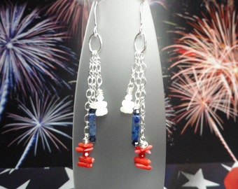 Team Colors Red White and Blue Gemstone Earrings