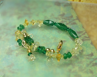 Team Colors Green and Yellow Gemstone Bracelet