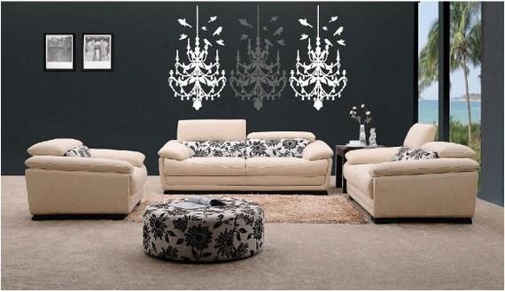 Set of 3 Chandelier Fleur Retro Living Room Art Deco Large Vinyl Wall Decal Graphic