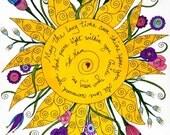 Sat Nam Yoga Print, Yoga, Sun, Positive, Affirmation