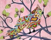 Grandma's Songbird Print, art print, whimsical, cardinal, tree