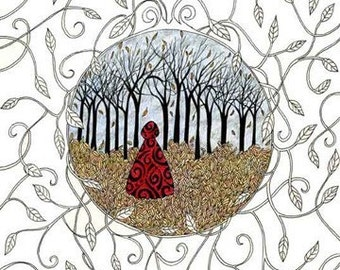Into the Woods Print, Art Print, Red Riding Hood, Forest, Fairytale