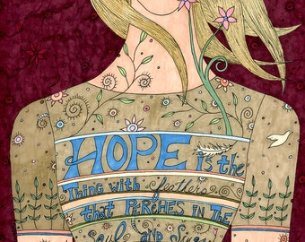 Song of Hope FIne Art Print, Positive, Affirmation, Woman