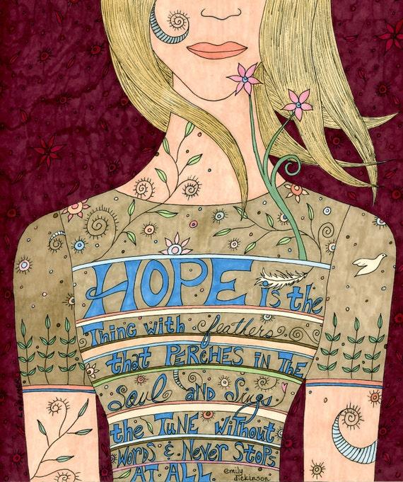 Song of Hope Note Card Set. Emily Dickinson saying. Uplifting.