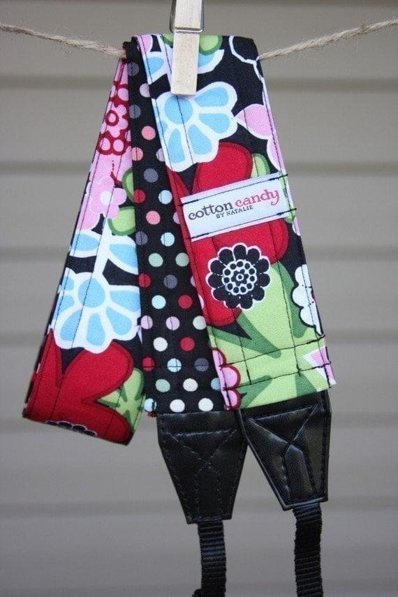 Reversible Camera Strap - Polka Dot Blooms