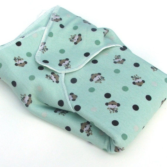 Winged Bamboo Prefold - Size TWO - Wee Essentials Wee Baby Cloth Diapers - Polka Dot Monkies
