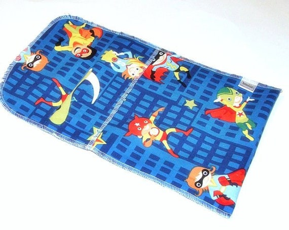 Medium Reusable Sandwich Bag- Food Baggie with pleated fold over closure - Super heroes