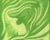 Green Artichoke Slice Painting Fine Art Modern Kitchen Print