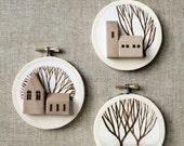 embroidery hoop art landscape tree original art