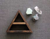 Stone Set and Triangle Wood Curio Shelf - Crystal Mineral Set Number 6