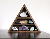 RESERVED - Stone Set and Triangle Wood Curio Shelf - Crystal Mineral Set No 7