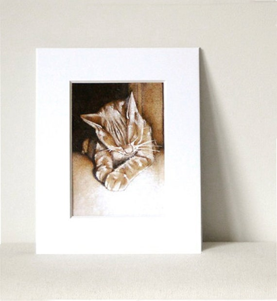 Reserved Listing - cat art print from original woodburning
