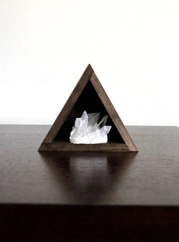 Quartz Crystal Cluster and Triangle Wood Shelf Set