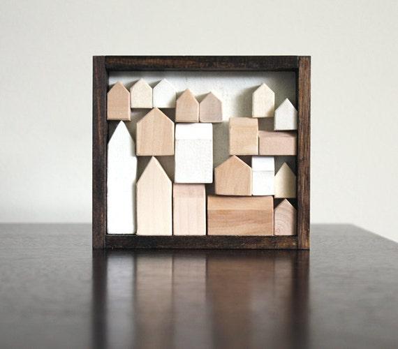 minimalist original miniature houses wood wall art