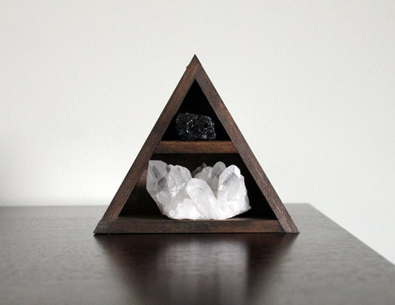 Quartz Crystal Cluster and Black Tourmaline in Triangle Wood Curio Shelf