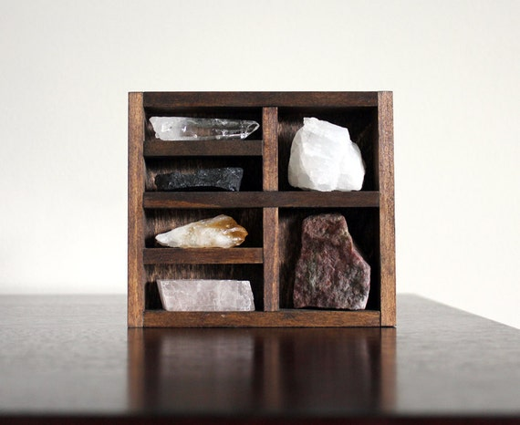 Stone and Crystal Set and Miniature Wood Curio Shelf Instant Collection