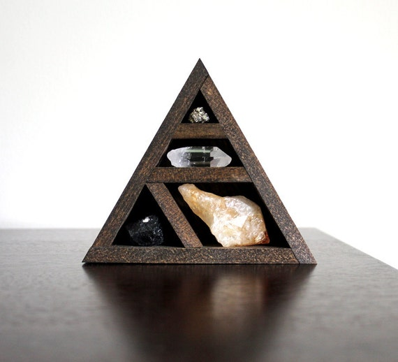 Stone Set and Triangle Dark Wood Curio Shelf  Crystal and Mineral Set