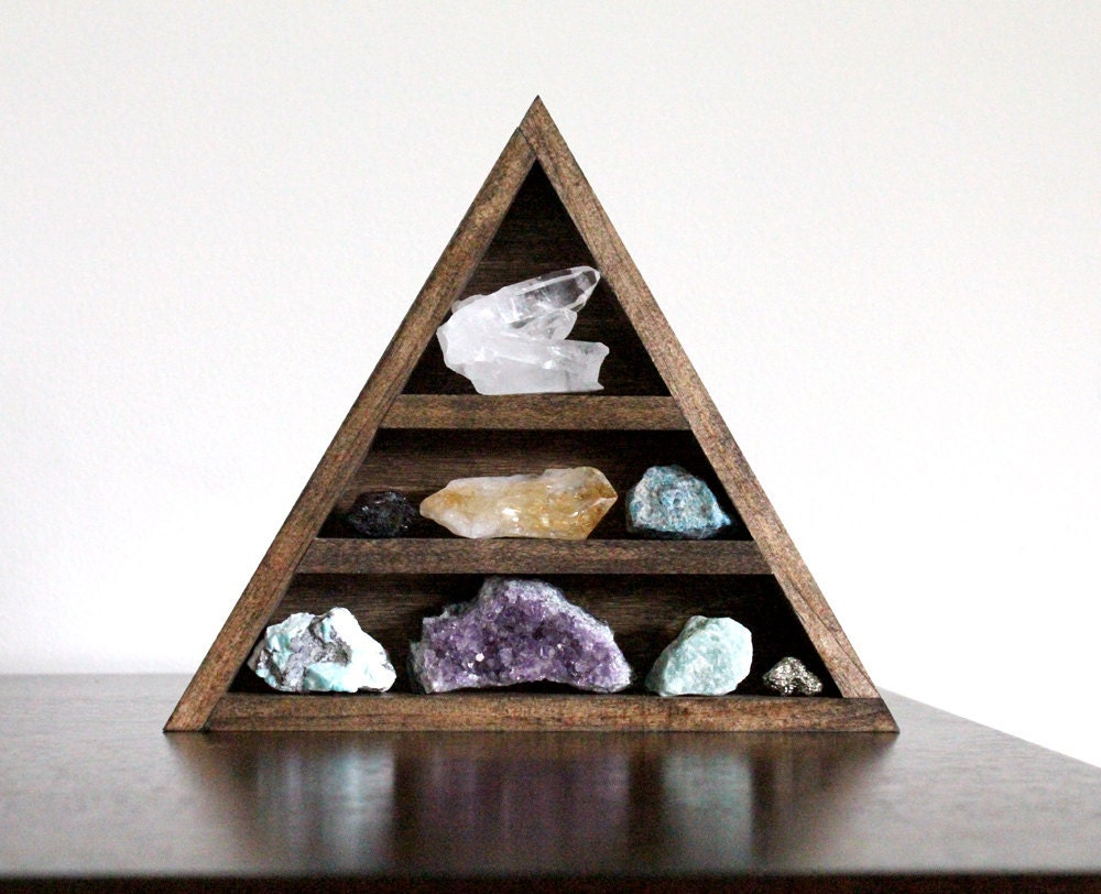 Reserved stone set and triangle wood curio shelf crystal - Triangular bookshelf ...