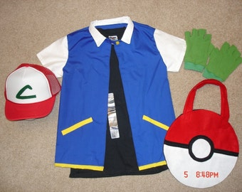 Adult Ash Ketchum Original Pokemon Trainer Costume with Shirt, Hat, and Gloves