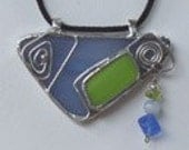 Fabulous Denim Blue & Lime Stained Glass Double Bail Pendant with Bead Detail