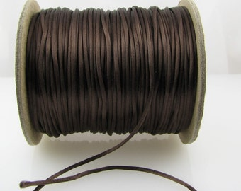 10 yards 2mm Medium Brown Satin Rattail Cord