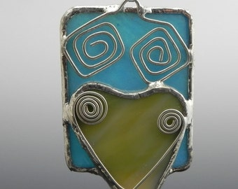 Turquoise Rectangle and Heart Stained Glass Pendant