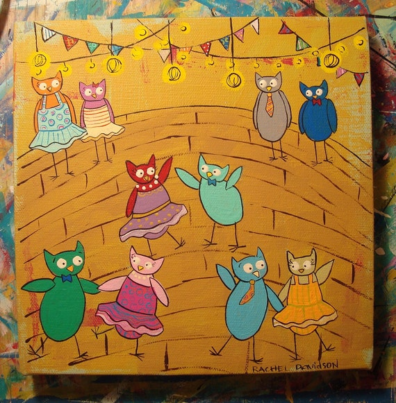 Owl Middle School Dance 8 x 8 Original Painting on Canvas