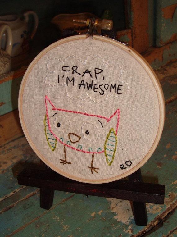 Crap Im Awesome-Needlepoint Hoop