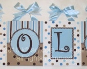 Blue Brown Dots custom canvas letter name sign wall art decor hanging monogram initials hand painted white chocolate tan stripes painting