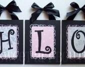 Black Pink White Toile like vine CUSTOM canvas letter name sign wall art  girl swirls dots