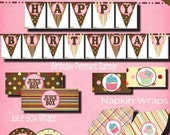 CUPCAKE Huge Standard Party Package pack DIY Printable Pink brown banner invitation decoration topper water wrap dots sweet