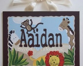 Jungle animals custom canvas letter name sign wall art hand painted boy brown giraffe lion zebra monkey personalized children painting decor