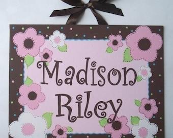 Pink, Brown, Flowers, Canvas name sign, nursery wall art, hand painted, girls door sign, monogram art, Pink Brown nursery, Pink nursery art
