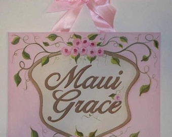 Shabby Chic, Canvas name sign, Personalized, Cottage Chic, Nursery wall art, Floral nursery art, Custom painting, cottage chic rose, Pink