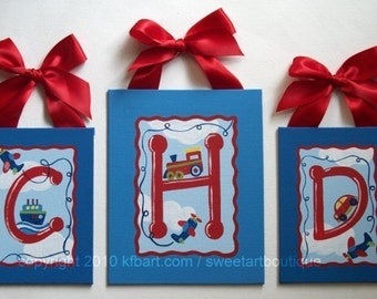 Red Blue cars truck airplane Custom Canvas letter name sign wall art Personalized plane boat train children decor painting monogram set