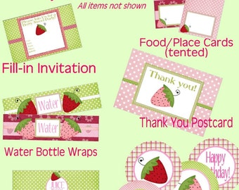 Strawberry Birthday Party, Berry Sweet party, party package, DIY Printable party, pink green, party decorations, Instant Download