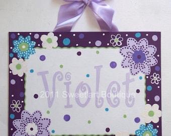Personalized, Purple, Plum, Aqua, Flowers, Canvas name sign, Nursery wall art, Custom wall art, purple nursery decor, girls nursery art, art