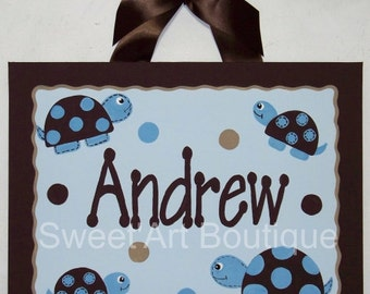 Turtle turtles name sign wall art handpainted blue tan brown dots boy mod custom personalized canvas painting
