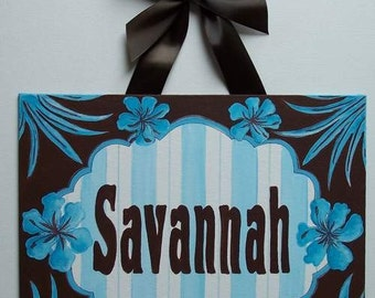 Personalized Blue Brown Floral Leaf custom canvas letter name sign wall art handpainted stripes white